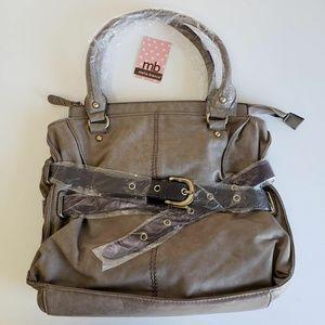 $95 Melie Bianco Leather Sarbina Taupe Tote Bag